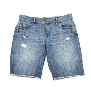 Ann Taylor Loft Cut Off Bermuda Jean Shorts Sz 27